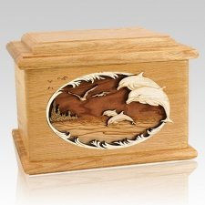Dolphins Oak Memory Chest Cremation Urn