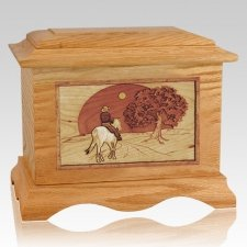 Horse & Moon Oak Cremation Urn