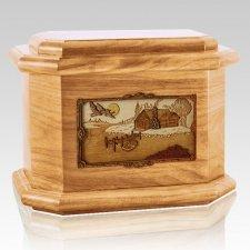 Rustic Paradise Oak Octagon Cremation Urn