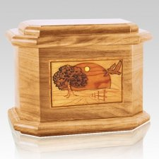 Geese Oak Octagon Cremation Urn