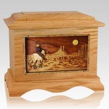 Horse Moon Oak Cremation Urn