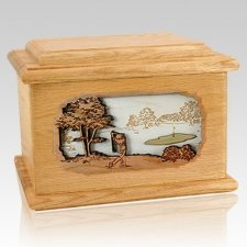 Golf Oak Memory Chest Cremation Urn