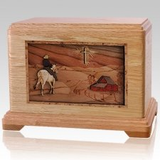 Horse & Cross Oak Cremation Urn For Two