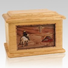 Horse & Cross Oak Memory Chest Cremation Urn