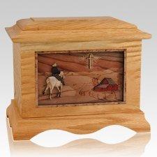 Horse & Cross Oak Cremation Urn