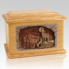 Moonlight Serenade Oak Memory Chest Cremation Urn