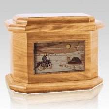 Motorcycle Moon Oak Octagon Cremation Urn