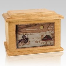 Motorcycle Moon Oak Memory Chest Cremation Urn