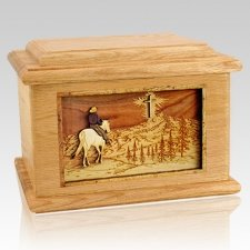 Last Horse Ride Oak Memory Chest Cremation Urn