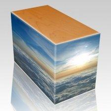 Heavenly Clouds Oak Child Cremation Urn III