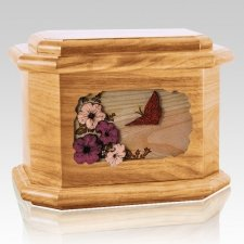 Butterfly Oak Octagon Cremation Urn