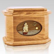 Sailing Home Oak Octagon Cremation Urn