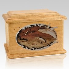 Whale & Calf Oak Memory Chest Cremation Urn