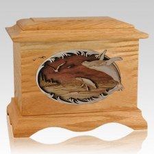 Whale & Calf Oak Cremation Urn