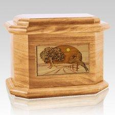 Pheasant Oak Octagon Cremation Urn