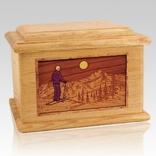 Skiing Oak Memory Chest Cremation Urn
