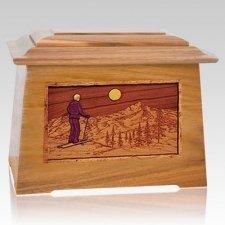 Skiing Oak Aristocrat Cremation Urn