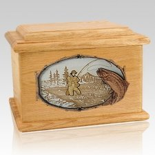 Fly Fishing Oak Memory Chest Cremation Urn