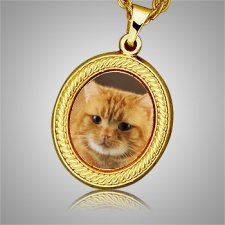 Cat Oval Picture Cremation Pendant II