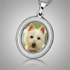 Dog Oval Picture Cremation Pendant