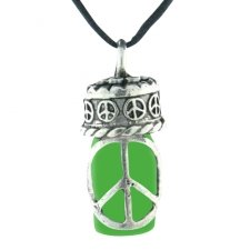 Peace Green Cremation Urn Necklace