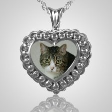 Pearl Photo Heart Cremation Jewelry