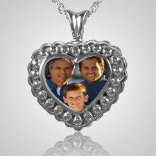 Pearl Photo Heart Cremation Keepsake
