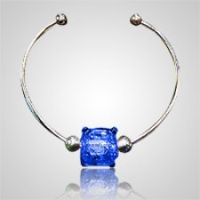 Cobalt Cube Bead Ash Bracelet