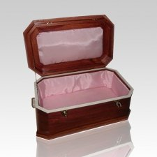Pink Satin with Cherry Wood Casket