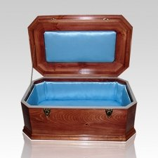 Blue Satin with Cherry Wood Casket