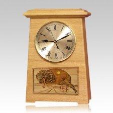 Pheasant Astoria Clock Oak Cremation Urn