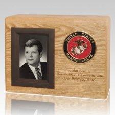 Photo Medallion Wood Cremation Urn