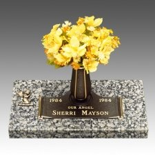 Praying Angel Children Bronze Grave Marker