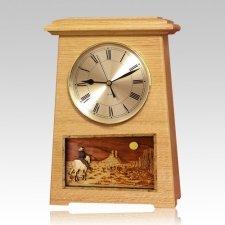 Riding and Moon Astoria Clock Oak Cremation Urn