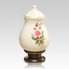 Pink Rose Small Ceramic Urn