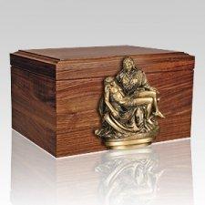 Sacred Figurine Wood Cremation Urn