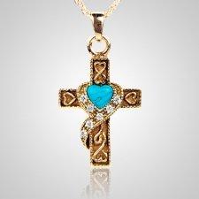 Swirl Blue Cross Keepsake Jewelry II