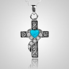 Swirl Blue Cross Keepsake Jewelry III