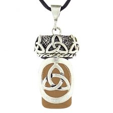 Celtic Trinity Brown Glass Cremation Necklace
