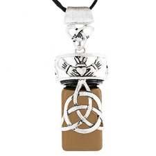 Trinity Heart Brown Cremation Necklace