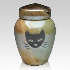 Raku Cat Ceramic Cremation Urn