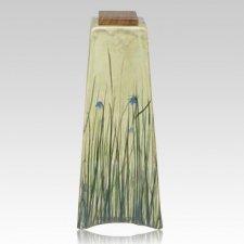 Irises in Blue Nature Cremation Urn
