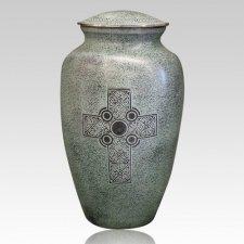 Verde Cross Brass Cremation Urn