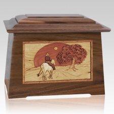 Horse & Moon Walnut Aristocrat Cremation Urn