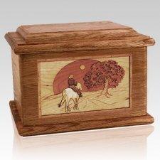 Horse & Moon Walnut Memory Chest Cremation Urn