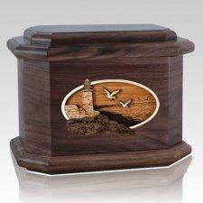 Sea Coast Walnut Octagon Cremation Urn