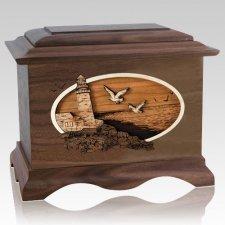 Sea Coast Walnut Cremation Urn