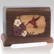 Hummingbird Walnut Cremation Urn For Two