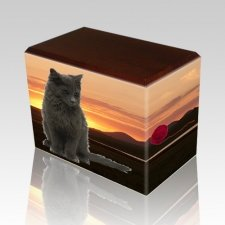 Country Walnut Pet Picture Urn