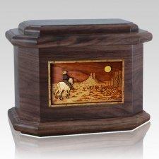 Horse Moon Walnut Octagon Cremation Urn